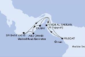 КРУИЗ: Перлите на Арабско море - 8 дни на борда на MSC Splendida: Вариант 1